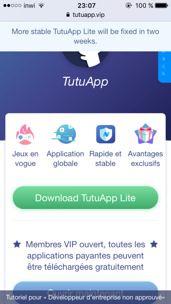 متجر تطبيقات TutuApp على أجهزة iOS