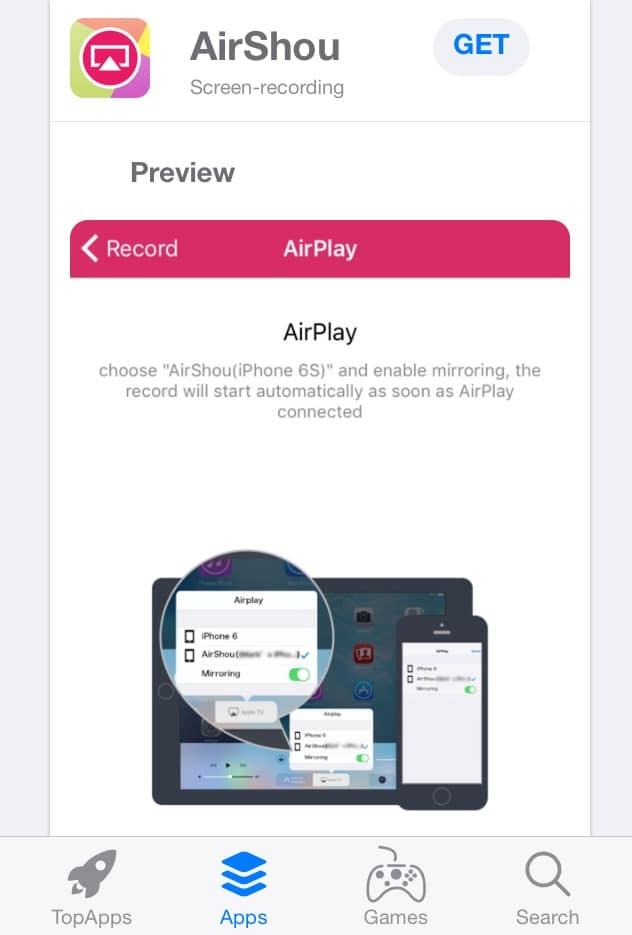 تركيب تطبيق AirShou من متجر TopStore