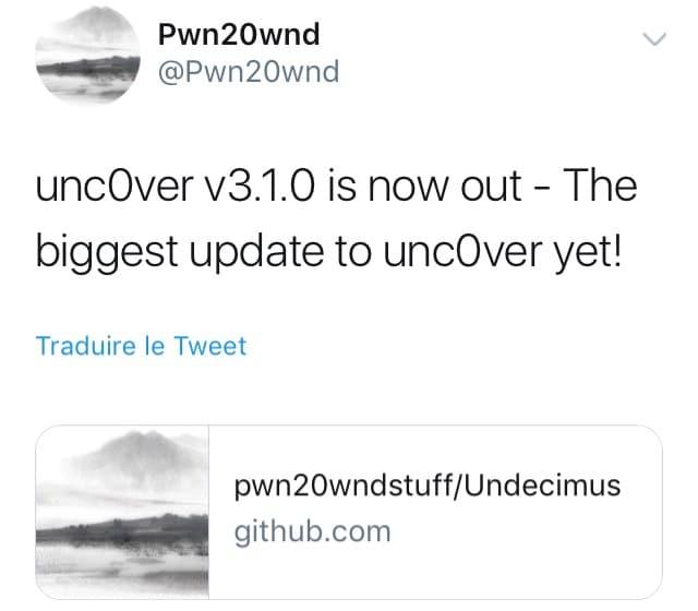جلبريك unc0ver 3.1.0