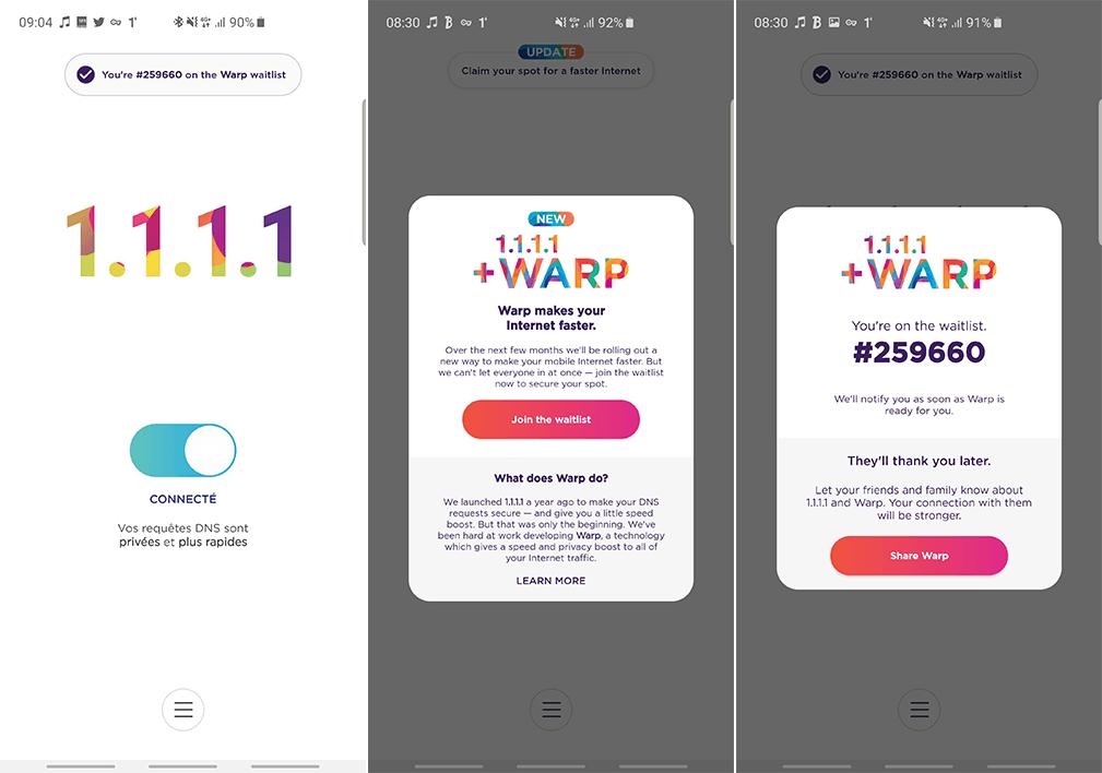 تفعيل تطبيق WARP + 1.1.1.1